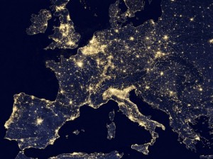 A nighttime view of Europe using the Visible Infrared Imaging Radiometer Suite in seen in a NASA handout